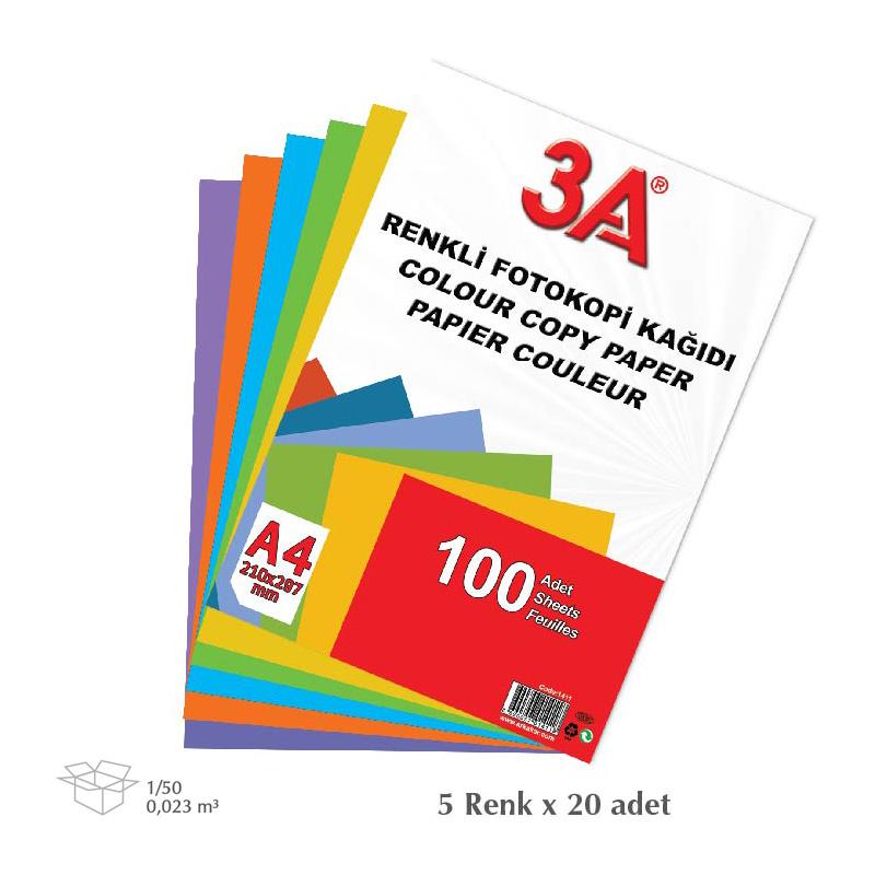 3A 1411 ЦВЕТНА КОПИРНА ХАРТИЯ А4, 80 ГР, ОП.100