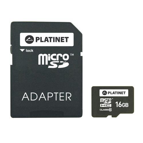SD карта PLATINET microSDHC SECURE DIGITAL + ADAPTER SD 16GB class10