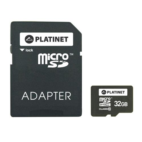 SD карта PLATINET microSDHC SECURE DIGITAL + ADAPTER SD 32GB class10