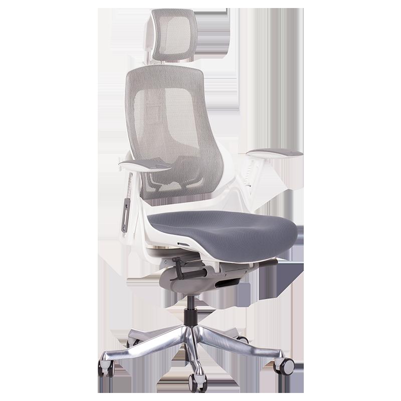 Президентски стол Carmen AMBRA сиво-бял