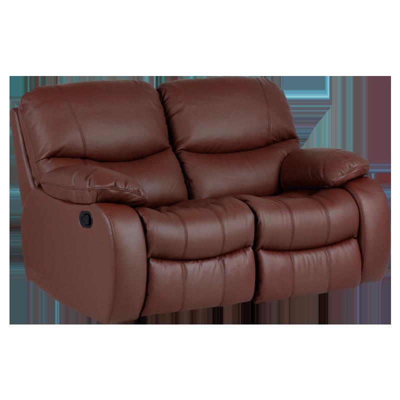 Кожен диван-двойка с релакс механизъм Louisa естествена кожа - кестен