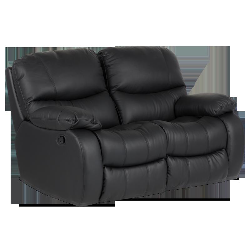 Кожен диван-двойка с релакс механизъм Louisa естествена кожа - черен