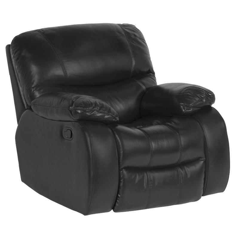 Кожен фотьойл с релакс механизъм Louisa естествена кожа - черен