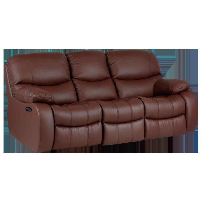 Кожен диван-тройка с електрически релакс механизъм Louisa Lux естествена кожа - кестен