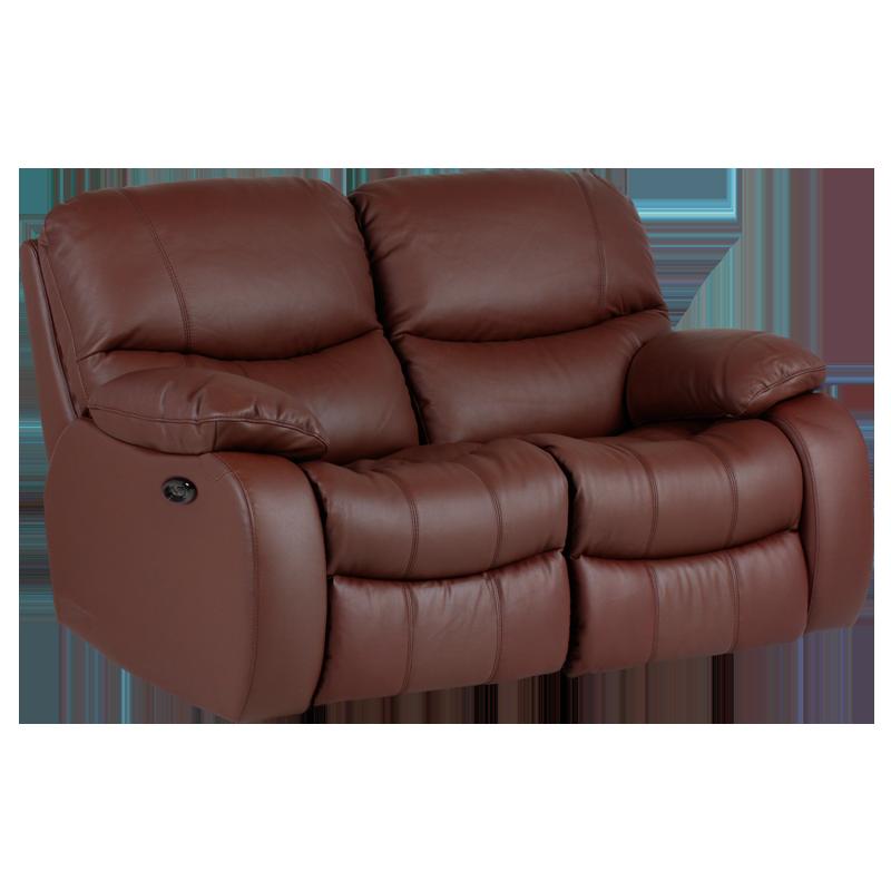 Кожен диван-двойка с електрически релакс механизъм Louisa Lux естествена кожа - кестен