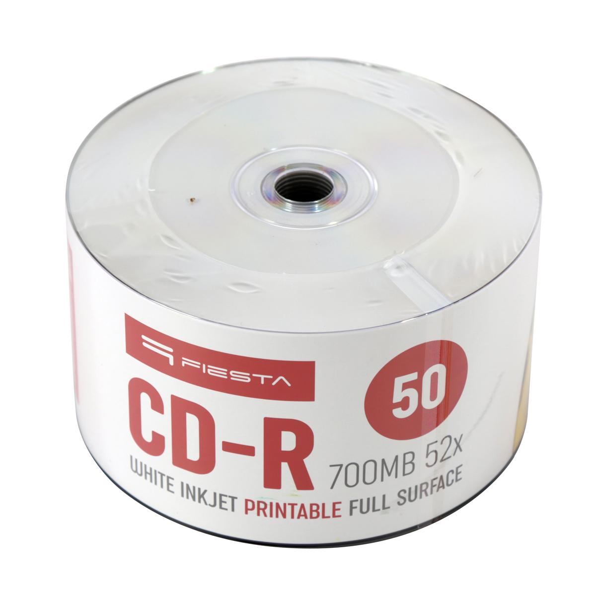 CD-R FIESTA  700MB 52X FF WHITE INKJET PRINTABLE SP оп. 50бр.