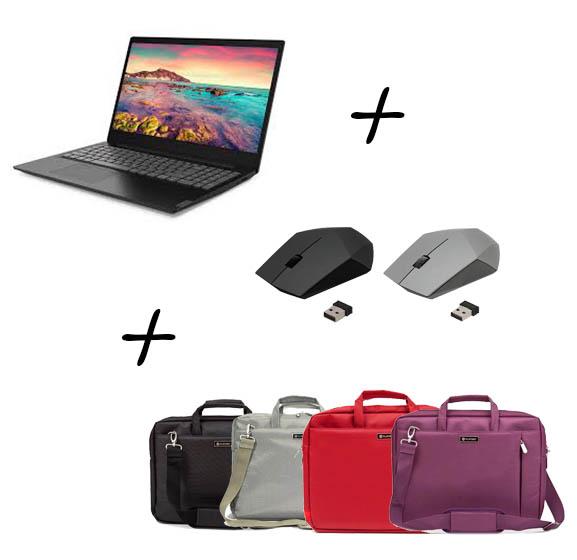 """Промоция - IdeaPad S145 15.6"""" HD Antiglare   +   Безжична компютърна мишка Omega 413   +   Чанта за лаптоп Platinet York 15.6"""