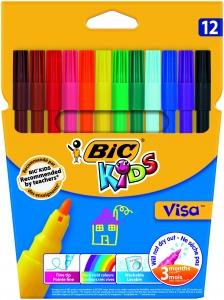 Флумастери Bic Kids Visa 12 цвята, измиващи се