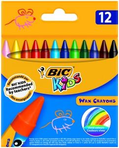 Восъчни пастели Bic Wax Crayon 12 цвята