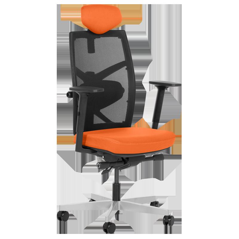 Президентски офис стол Carmen FREDO до 130 кг.  дамаска + мрежа - оранжев