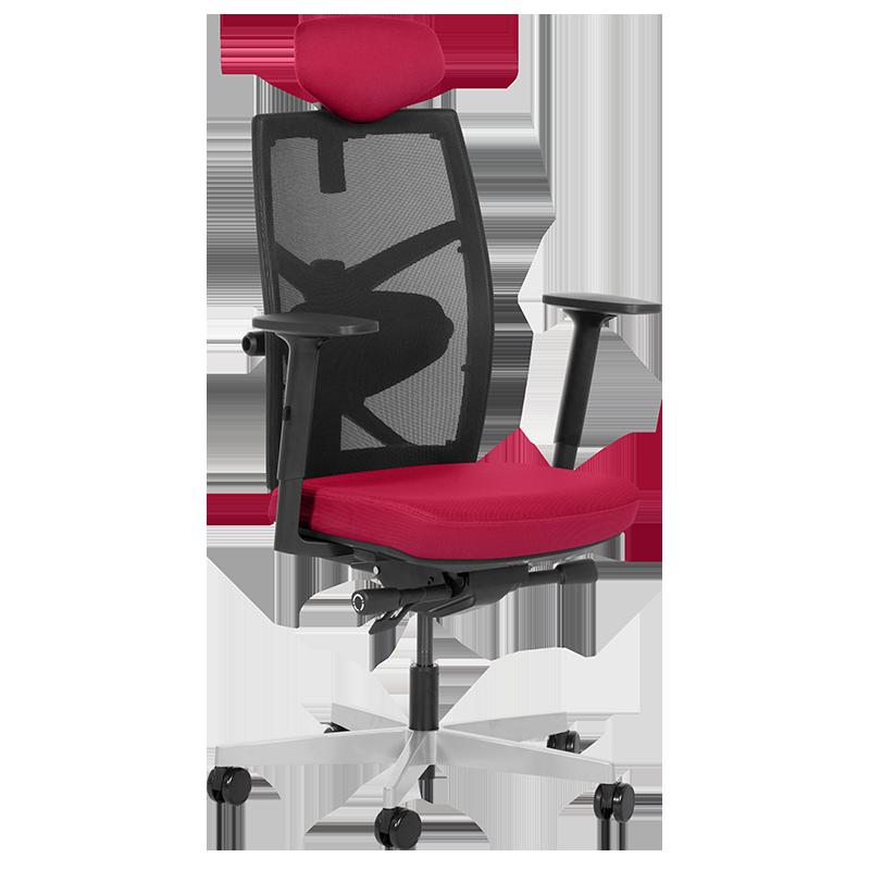 Президентски офис стол Carmen FREDO до 130 кг.  дамаска + мрежа - червен