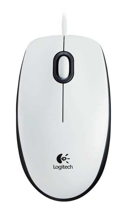 Оптична компютърна мишка Logitech M 100 бяла
