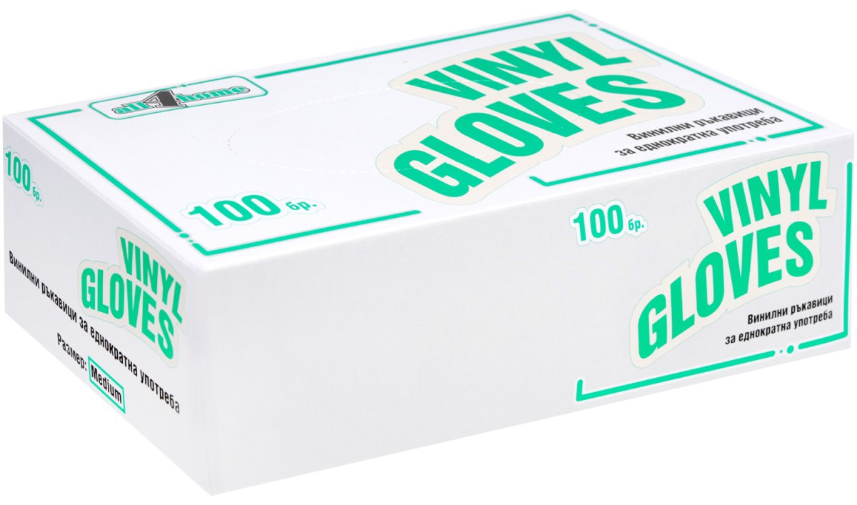 Ръкавици Винил без пудра S размер опаковка от 100 бр.