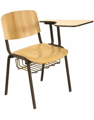 Стол от  шперплат Deste с фиксирана  подложка за писане, хром крак и телена кошница  K405