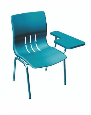 Черен пластмасов стол с фиксирана подложка за писане и метални крака Deste K420