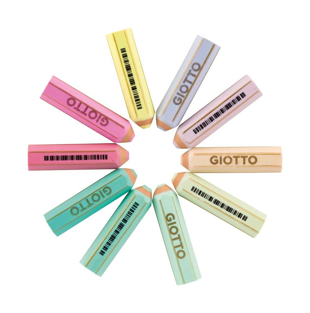 Цветна гума Giotto Happy във формата на молив, пастелни цветове