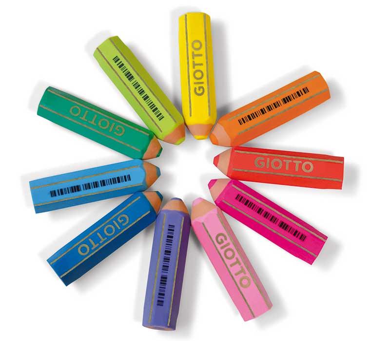 Цветна гума Giotto Happy във формата на молив, флуоресцентни цветове