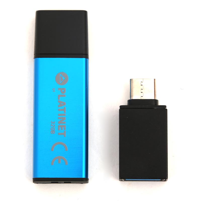 Platinet Pendrive USB 2.0 X-Depo 32GB + Type C Adapter, Синя