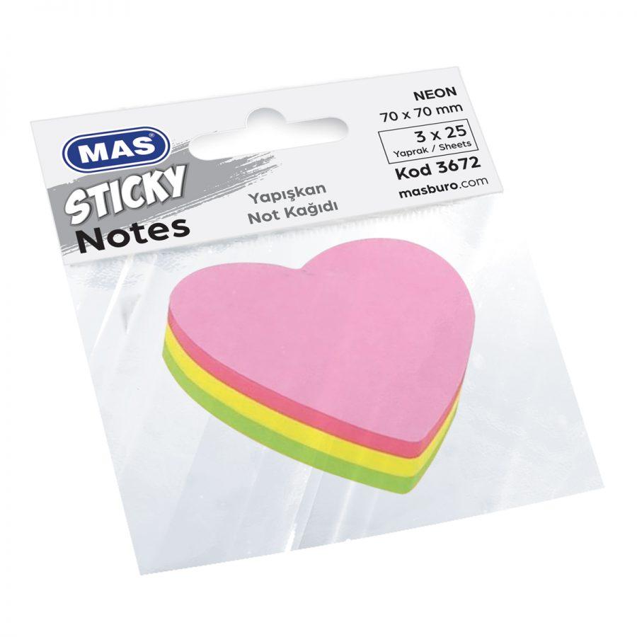 Самозалепващи листчета MAS, модел 3672,  70 х 70мм сърце неон оп.3цв х 25л