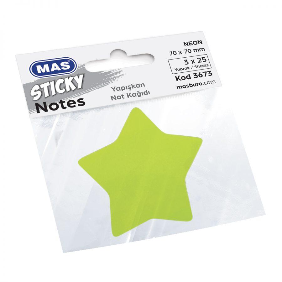 Самозалепващи листчета MAS, модел 3673,  70 х 70мм звезда неон оп.3цв х 25л