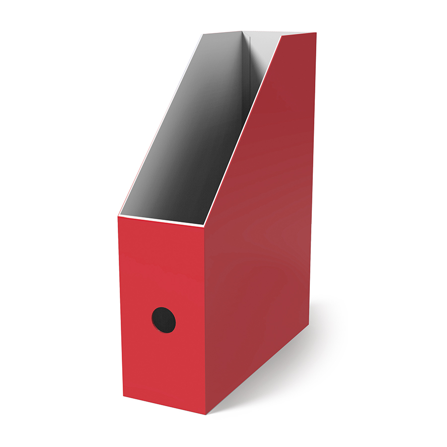 Поставка вертикална картонена MAS, модел 8222,  10.5см оп.4 червена
