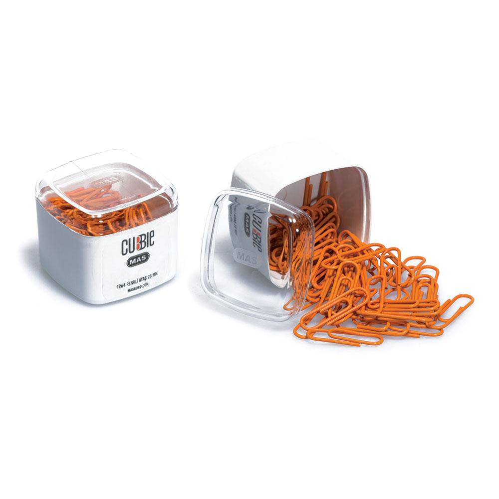 Кламери MAS Cubbie модел 1264 - 1,  28мм цветни оп.50 оранжеви