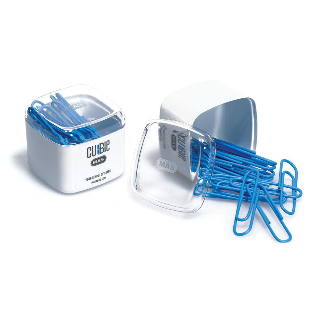 Кламери цветни MAS Cubbie модел 1268 - 1,  50мм оп.15 сини