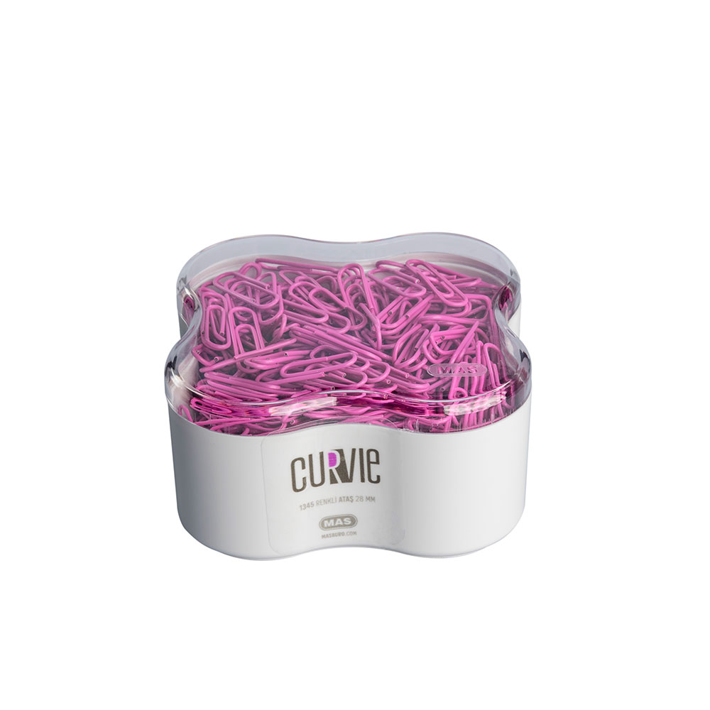 Кламери MAS цветни, модел 1345 Curvie 28мм оп.500 розови