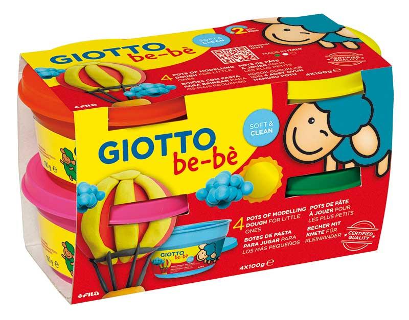 Супер тесто за моделиране Giotto Be-be Super Modelling Dough Patplume 4х100гр.,  розово, червено, жълто, зелено