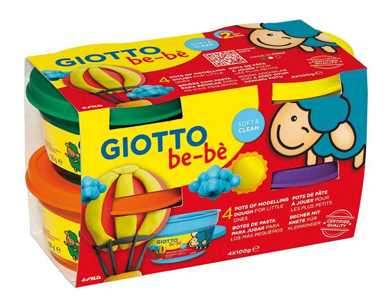 Супер тесто за моделиране Giotto Be-be Super Modelling Dough Patplume 4х100гр., зелено, оранжево, жълто, магента