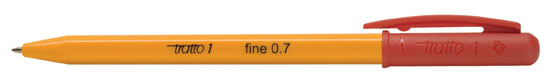 Автоматична химикалка Tratto 1 Fine обикновено мастило, 0,7мм. връх Червен