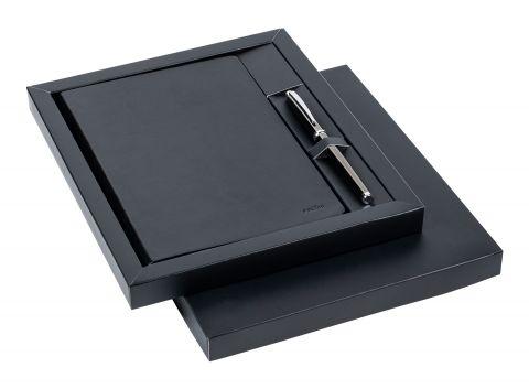 Комплект Scrikss Sundance Premium бележник и ролер Titanium 800, модел 84271,  Черна кожа / Хром