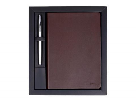 Комплект Scrikss  Sundance Premium бележник и ролер Titanium 800, модел 84288, Кафява кожа / Хром