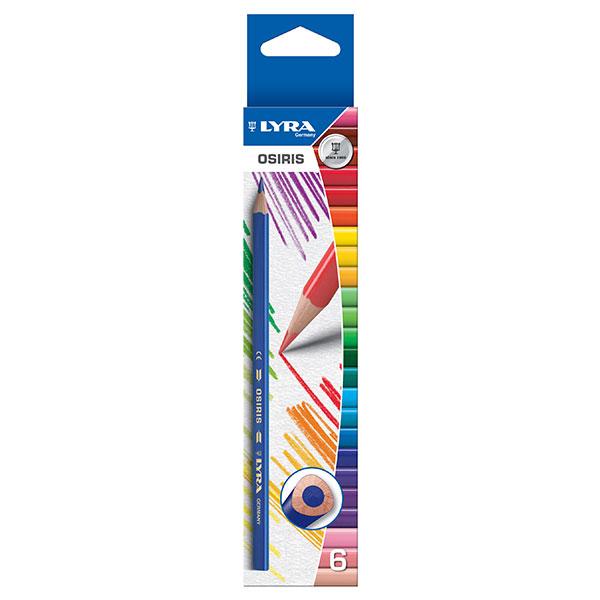 Цветни моливи Lyra Osiris 6 цвята, с триъгълна форма, 2.8мм. графит