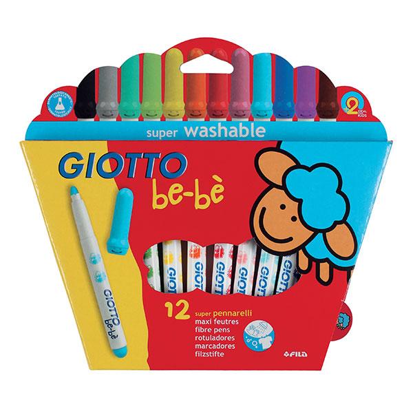 Флумастери Giotto be-be бебешки с объл връх, 12цвята