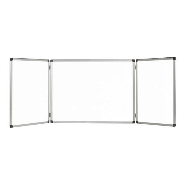 Тройна бяла дъска Bi-Office немагнитна с алуминиева рамка 120х360см.
